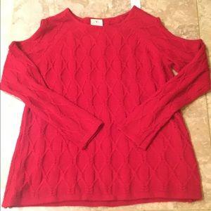 St John's Bay Red Cold Shoulder Sweater Size L